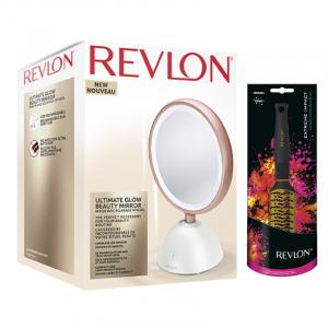 Set oglinda cosmetica iluminata REVLON Utimate Glow Beauty RVMR9029 si perie de par2