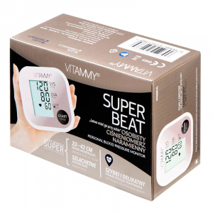 Tensiometru electronic de brat VITAMMY Super Beat, manseta 22-42 cm, Alb/Roz4