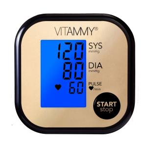Tensiometru electronic de brat VITAMMY Ultra Beat, manseta 22-42 cm, Negru/Auriu2