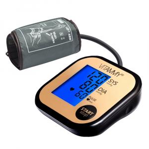 Tensiometru electronic de brat VITAMMY Ultra Beat, manseta 22-42 cm, Negru/Auriu0