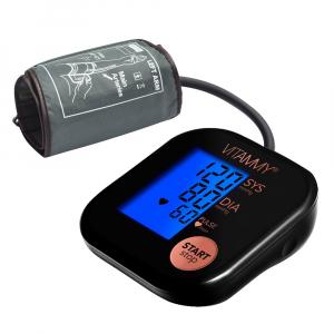 Tensiometru electronic de brat VITAMMY Ultra Beat, manseta 22-42 cm, Negru/Roz0