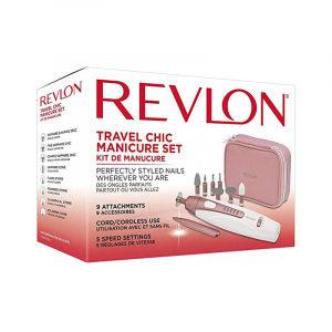 Set manichiura freza electrica REVLON Travel Chic RVSP3527E, Alb/Roz [1]