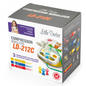 Aparat aerosoli cu compresor Little Doctor LD-212C, 3 Dispensere pentru reglarea dimensiunilor particulelor, 2 Masti, galben [2]