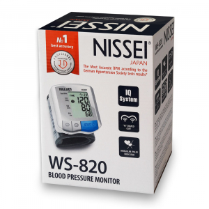 Tensiometru electronic de incheietura Nissei WS-820, afisaj LCD,  memorare 2 x 30 de valori, alb/gri2