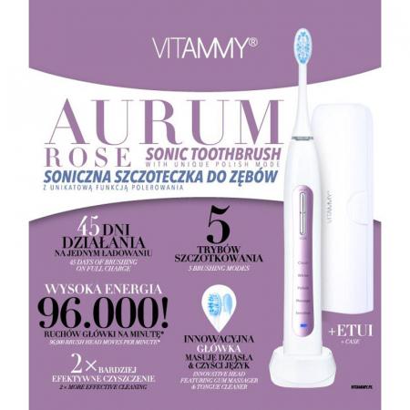 Periuta de dinti electrica VITAMMY Aurum Rose, 96000 vibratii/min, 5 moduri de periaj [5]