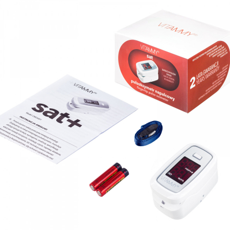Pulsoximetru Vitammy Sat, ecran luminos, rezistent, indica nivelul de saturatie a oxigenului, masoara ritmul cardiac [3]