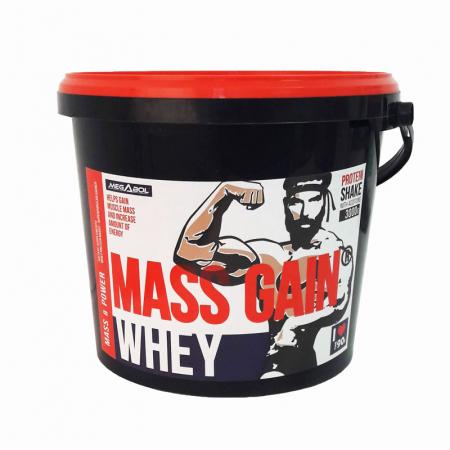Supliment gainer de proteine Megabol Whey Mass Gain 3000 g, proteine din zer si din germeni de grau, vitamine si acid glutamic [3]