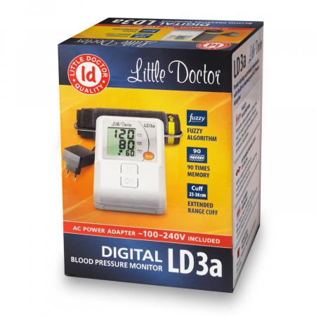 Tensiometru electronic de brat Little Doctor LD 3A, adaptor inclus, afisaj LCD, memorare 90 de valori, alb3