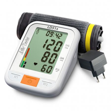 Tensiometru electronic de brat Little Doctor LD 51a, afisaj XXL, detector aritmie, indicator WHO, afisare data si ora, adaptor priza inclus, Alb/Gri4