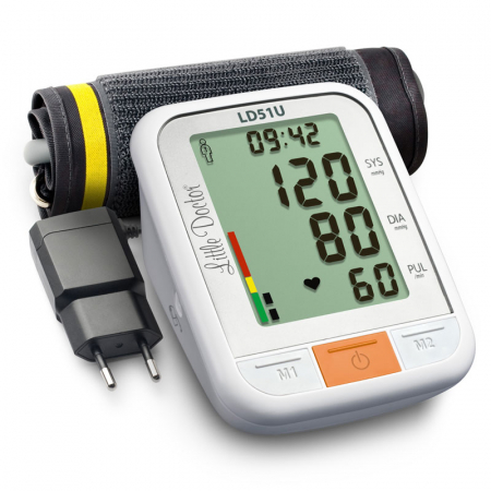 Tensiometru electronic de brat Little Doctor LD 51U, manseta 22 - 42 cm, indicator WHO, adaptor priza inclus, Alb/Gri3