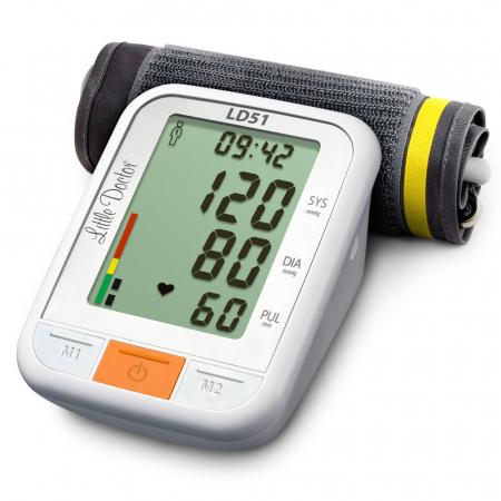 Tensiometru electronic de brat Little Doctor LD51, afisaj XXL, detector aritmie, indicator WHO, afisare data si timp, Alb/Gri4
