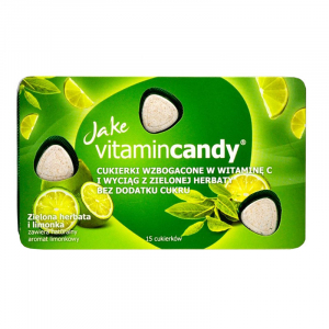 Drajeuri fara zahar VitaminCandy cu Vitamina C, extract de ceai verde si gust de lime, 18 g0