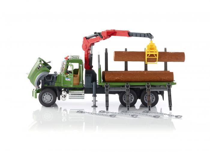 Jucarie camion Mack Granite cu macara pentru lemne + 3 busteni, Bruder 0