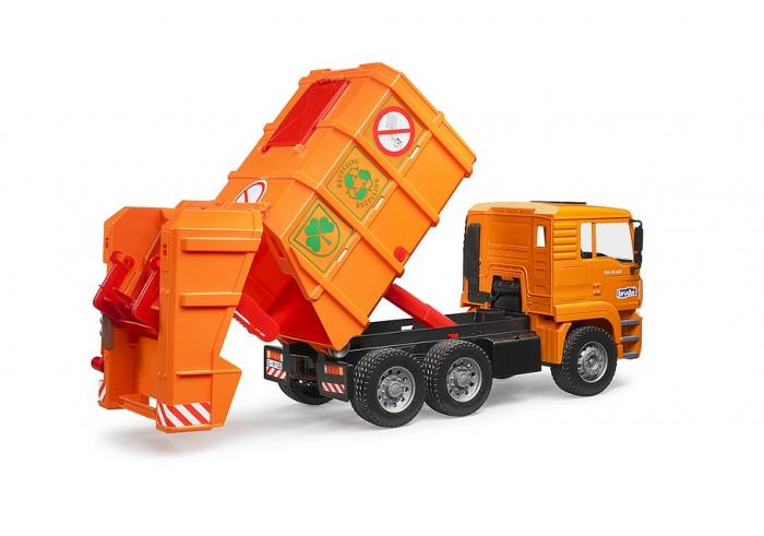 Jucarie Camion MAN TGA masina de gunoi cu incarcare spate si toberoane, Bruder 0