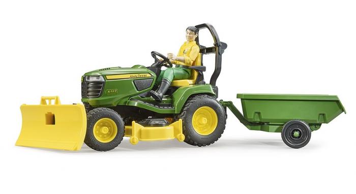 Jucarie Bworld tractor de tuns iarba cu remorca si figurina gradinar, Bruder [0]