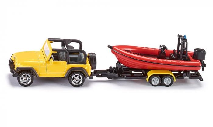 Jucarie macheta Jeep Wrangler cu barca de viteza, Siku [1]