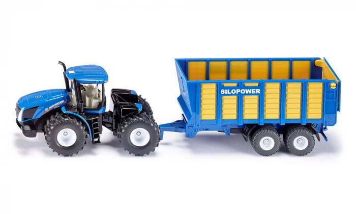 Jucarie macheta tractor New Holland cu remorca, Siku [0]