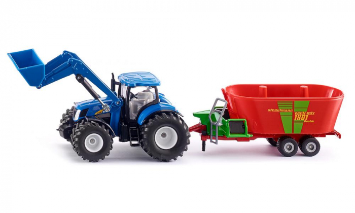 Jucarie macheta tractor New Holland cu incarcator frontal și malaxor de furaje Strautmann, Siku [1]