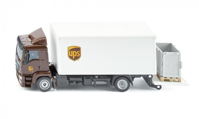 Jucarie macheta camion MAN transporter cu platforma ridicare colete si accesorii [1]