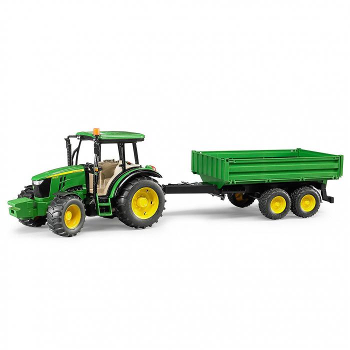 Tractor John Deere 5115 M verde cu remorca basculanta, Bruder 0