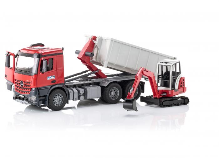 Jucarie camion Mercedes Benz Arocs cu container detasabil si mini excavator Schaeff, Bruder [1]