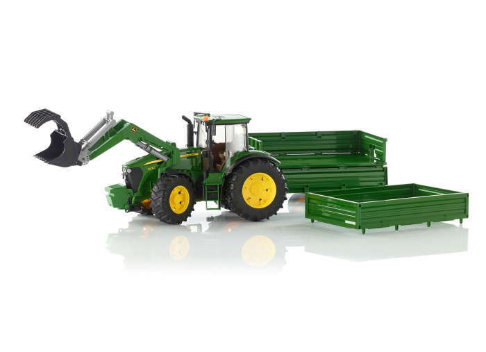 Tractor John Deere verde cu incarcator frontal si remorca basculabila, Bruder [0]