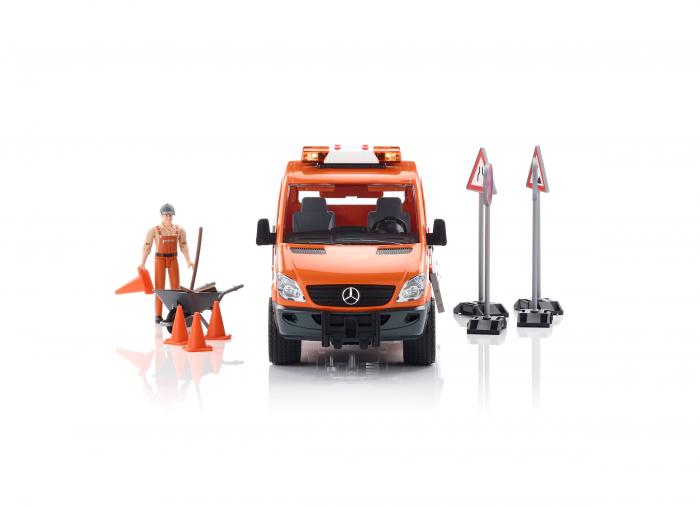 Vehicul Mercedes Benz sprinter utilitar cu sunet si lumini + figurina lucrator in constructii, Bruder 0