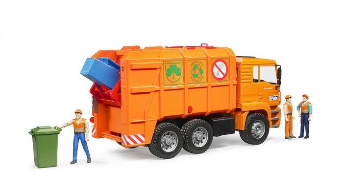 Jucarie Camion MAN TGA masina de gunoi cu incarcare spate si toberoane, Bruder 1