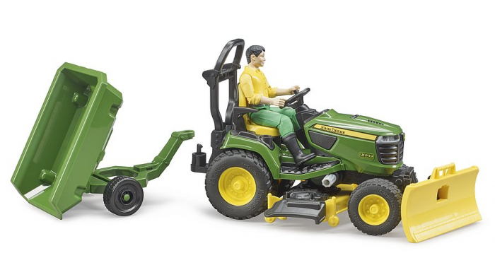 Jucarie Bworld tractor de tuns iarba cu remorca si figurina gradinar, Bruder [1]
