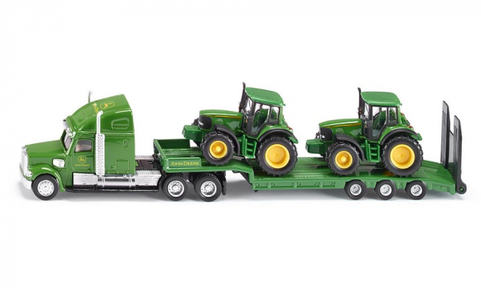 Jucarie macheta camion transporter John Deere cu platforma si 2 tractoare, Siku [1]
