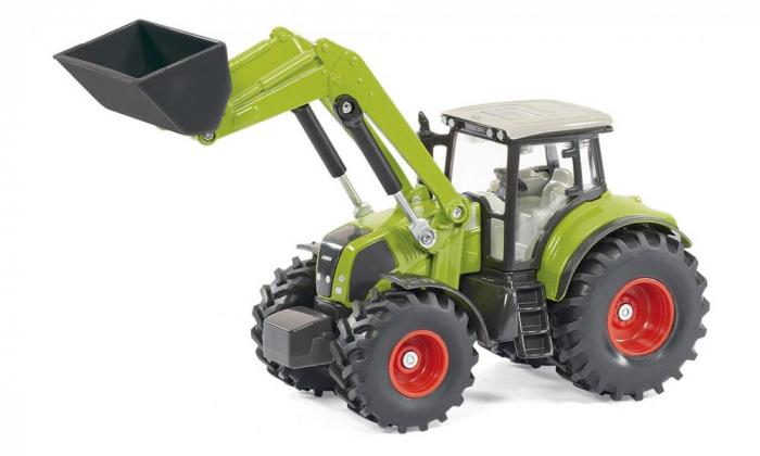 Jucarie macheta tractor Claas Axion cu incarcator frontal si basculanta, Siku [2]
