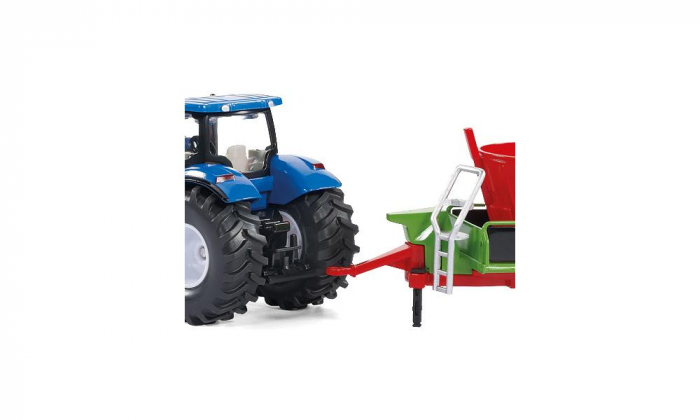 Jucarie macheta tractor New Holland cu incarcator frontal și malaxor de furaje Strautmann, Siku [3]