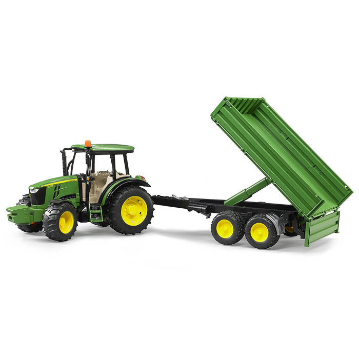 Tractor John Deere 5115 M verde cu remorca basculanta, Bruder 2