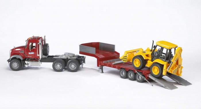 Jucarie camion Mack Granite cu trailer si excavator JCB 4CX, Bruder 1