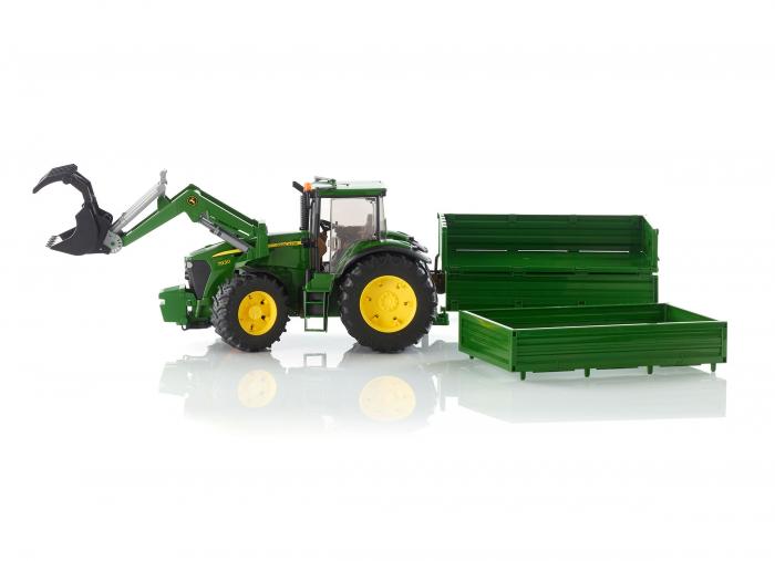 Tractor John Deere verde cu incarcator frontal si remorca basculabila, Bruder [1]