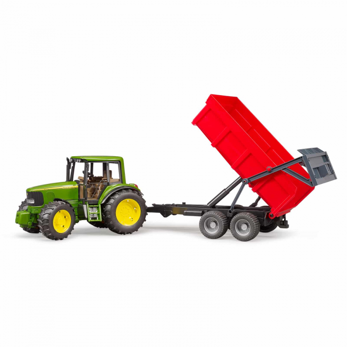 Tractor John Deere 6920 verde cu remorca basculanta rosie, Bruder 1