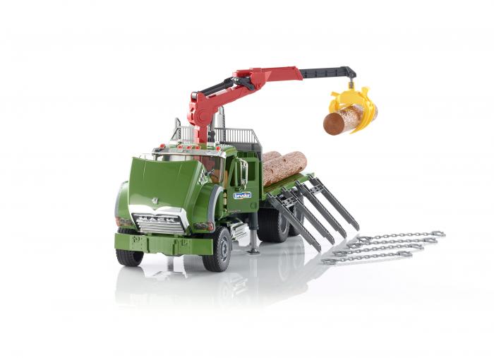 Jucarie camion Mack Granite cu macara pentru lemne + 3 busteni, Bruder 1