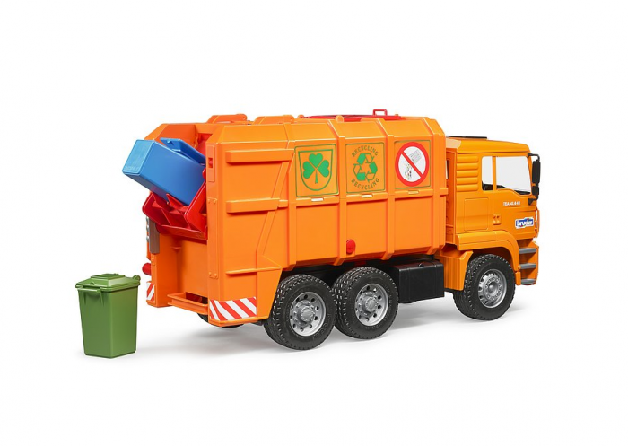 Jucarie Camion MAN TGA masina de gunoi cu incarcare spate si toberoane, Bruder 2
