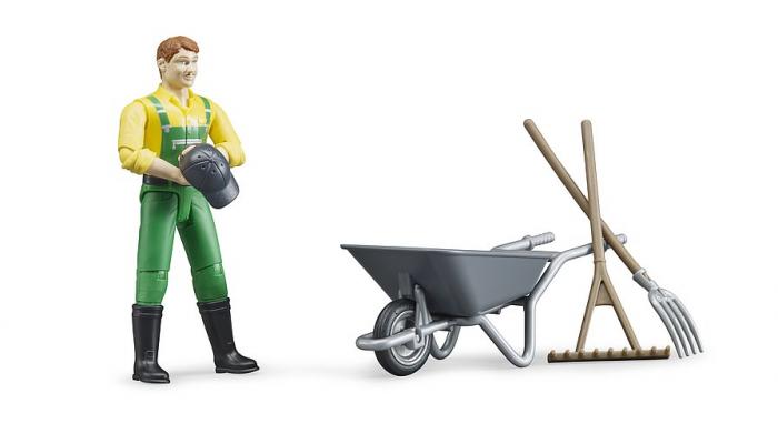 Jucarie set figurina fermier cu accesorii, Bruder [2]