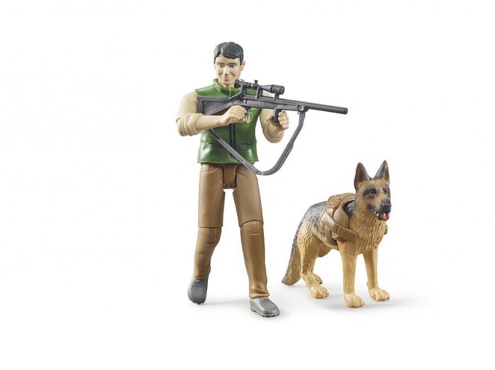 Jucarie figurina padurar cu echipament si figurina caine, Bruder [2]