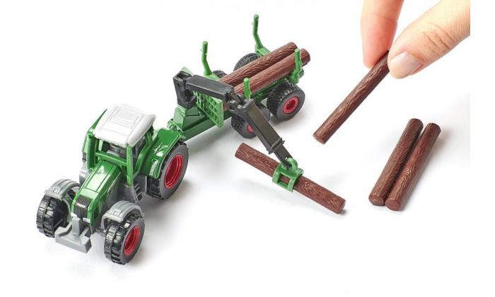 Jucarie macheta tractor forestier cu remorca, Siku [1]