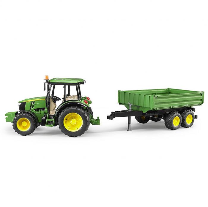 Tractor John Deere 5115 M verde cu remorca basculanta, Bruder 3