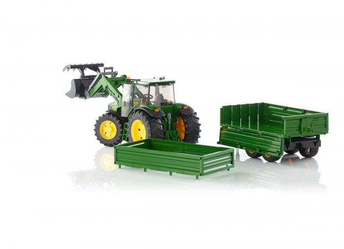 Tractor John Deere verde cu incarcator frontal si remorca basculabila, Bruder [2]