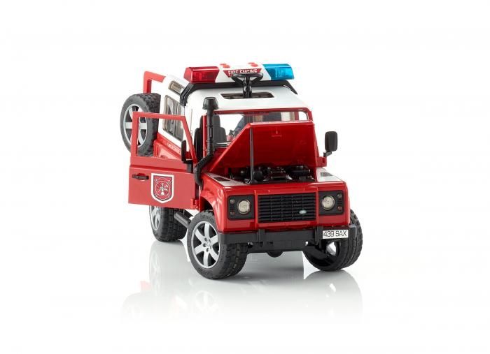 Masina de pompieri Land Rover Defender cu modul de lumini si sunet + figurina pompier cu accesorii, Bruder 2