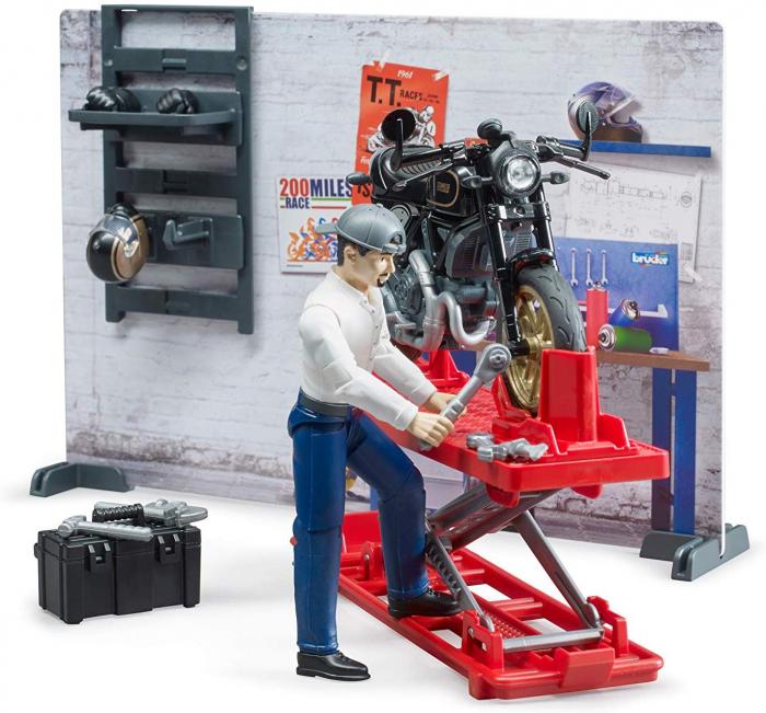 Set tematic service Bworld cu motocicleta, mecanic si accesorii, Bruder 2