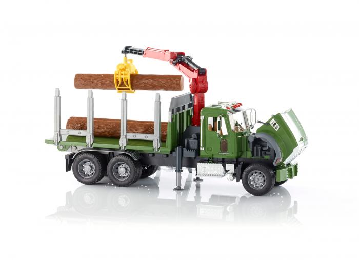 Jucarie camion Mack Granite cu macara pentru lemne + 3 busteni, Bruder 2