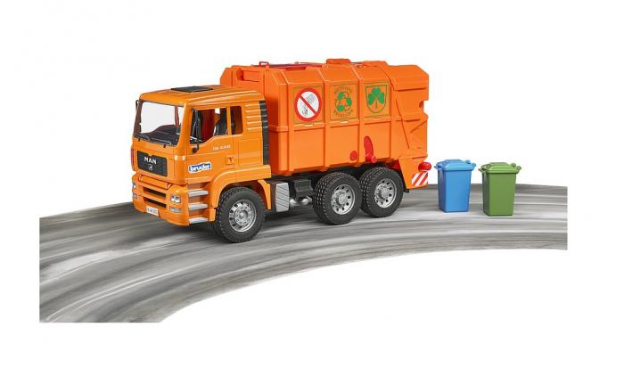 Jucarie Camion MAN TGA masina de gunoi cu incarcare spate si toberoane, Bruder 3