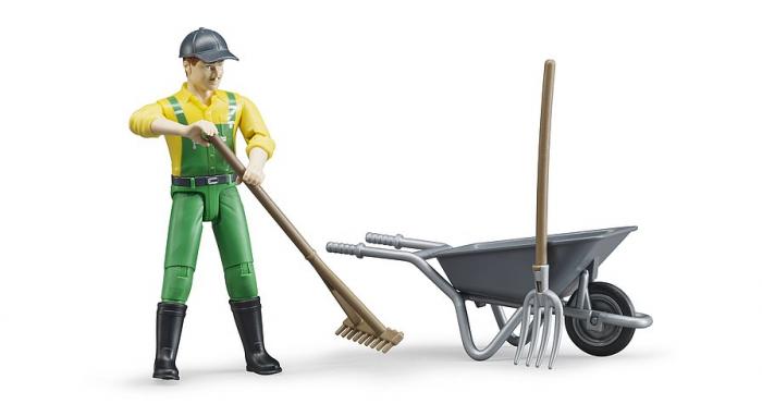 Jucarie set figurina fermier cu accesorii, Bruder [3]