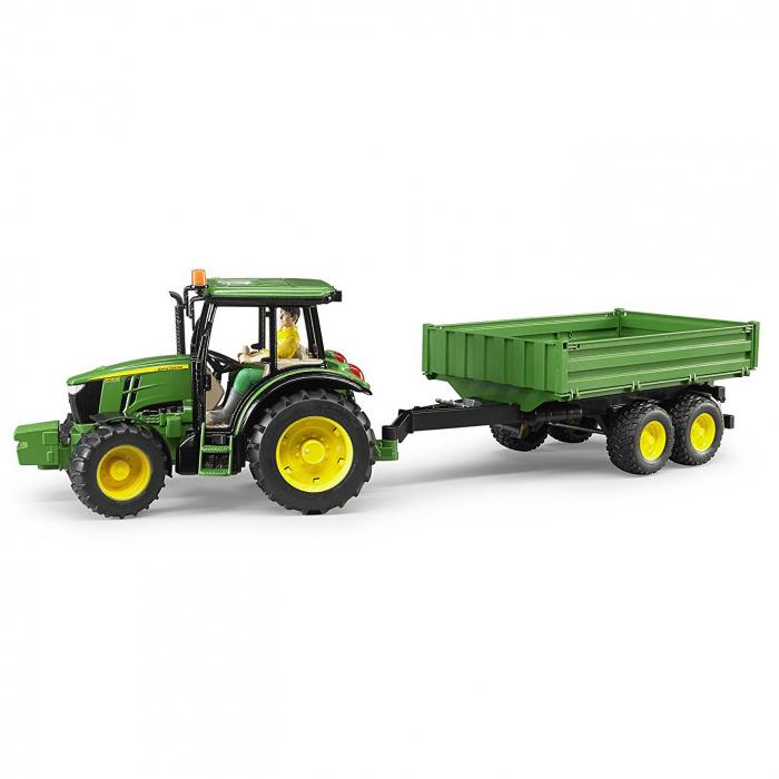 Tractor John Deere 5115 M verde cu remorca basculanta, Bruder 4