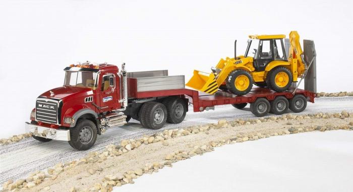 Jucarie camion Mack Granite cu trailer si excavator JCB 4CX, Bruder 3